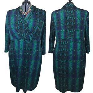 Plus size snake print long sleeve faux wrap dress